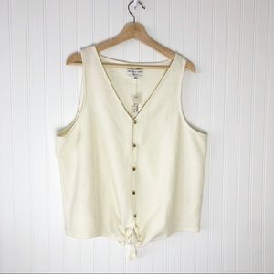 Madewell Texture and Thread Tie Front Tank XXL